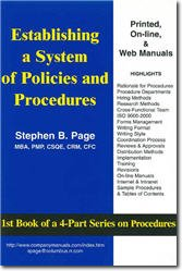 Establishing a System of Policies and Procedures - Basic Primer